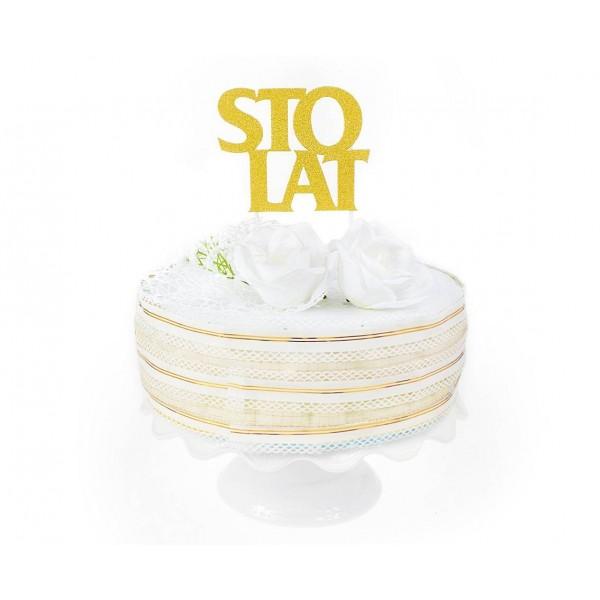 Topper Sto Lat złoty 11.5x9.5 cm