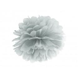 Pompon bibułowy 35 cm srebrny