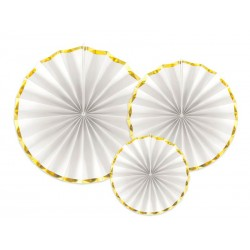 Rozety papierowe białe ze złotym paskiem 3szt