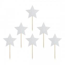 Piki gwiazdki srebrne brokatowe  6szt
