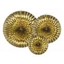 Rozety papierowe złote 3szt