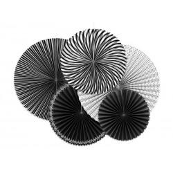 Rozety papierowe biało czarne 5szt