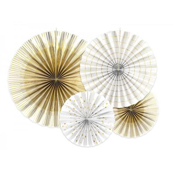 Rozety papierowe biało złote 4szt