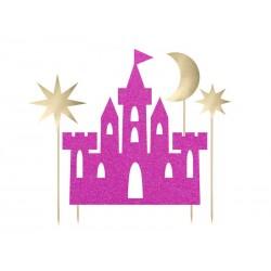 Topper na tort Zamek Princess Księżniczka ciemnoróżowy