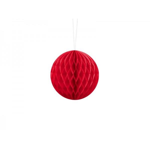 Kula bibułowa czerwona 10cm
