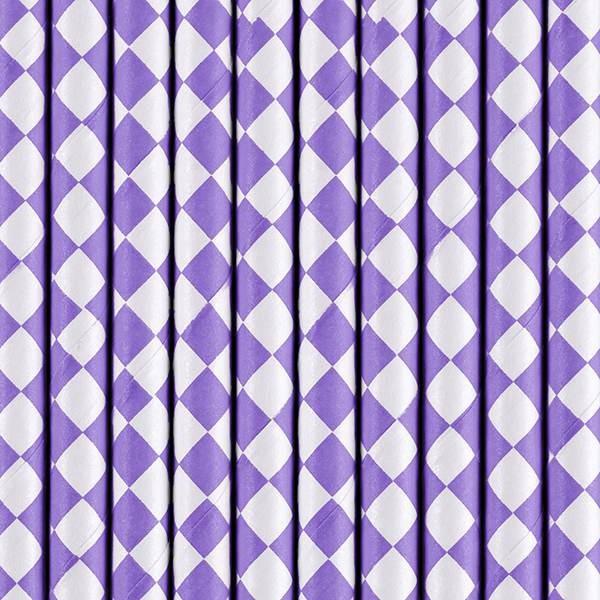 Słomki papierowe liliowe 10szt