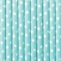 Słomki papierowe błękitne w kropki 10szt