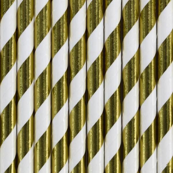 Słomki papierowe w paski złote 10szt