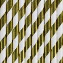 Słomki metaliczne papierowe złote w paski 10szt