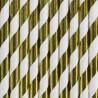 Słomki papierowe złote w paski metaliczne 10szt