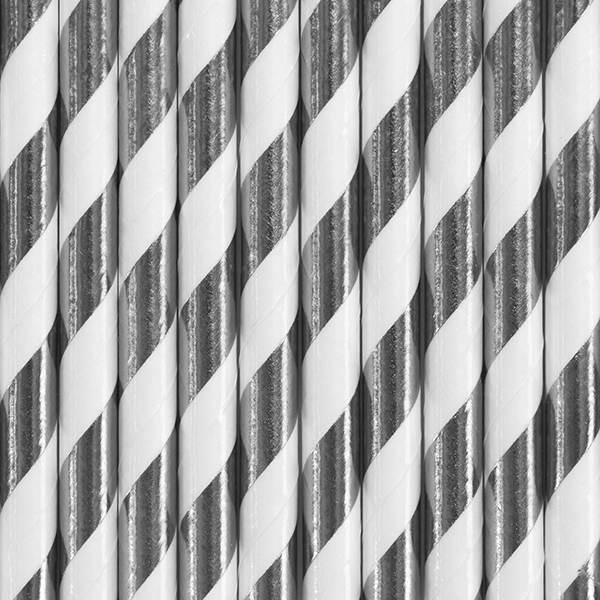 Słomki papierowe w paski srebrne 10szt