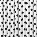 Słomki papierowe białe w kropki 10szt
