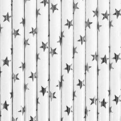 Słomki papierowe białe w gwiazdki srebrne 10szt