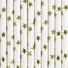 Słomki papierowe białe w gwiazdki złote 10szt