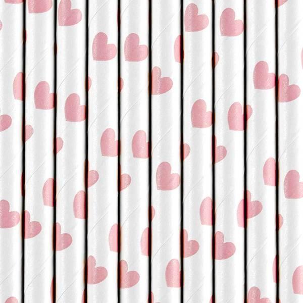 Słomki papierowe białe w jasnoróżowe serca 10szt