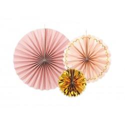 Rozety papierowe rose gold 3szt