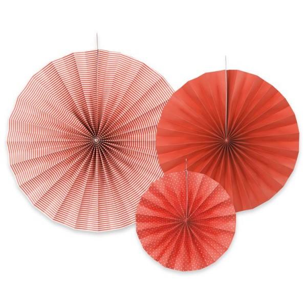 Rozety papierowe czerwone 3szt