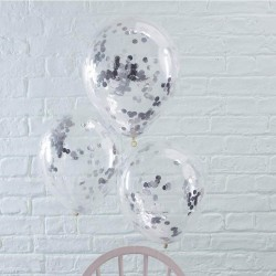 Balony transparentne ze srebrnym konfetti 5szt
