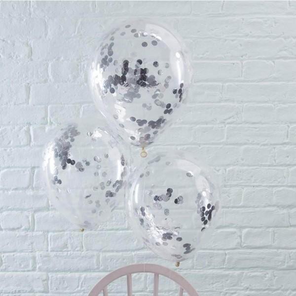 Balony transparentne ze srebrnym konfetti 12cali 30cm 5szt