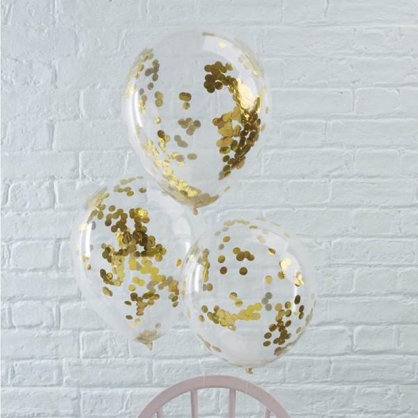 Balony transparentne ze złotym konfetti 5szt