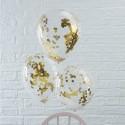 Balony transparentne ze złotym konfetti 12cali 30cm 5szt
