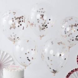 Balony transparentne z różowo złotym konfetti 5szt