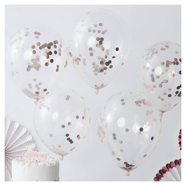 Balony transparentne z konfetti rose gold 12cali 30cm 5szt