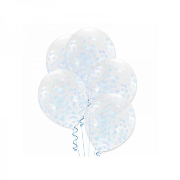 Balony transparentne z błękitnym konfetti 12cali 30cm 5szt