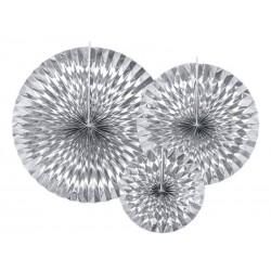 Rozety papierowe srebrne 3szt