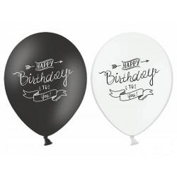 Balony Happy Birthday białe i czarne 12cali 30cm 5szt