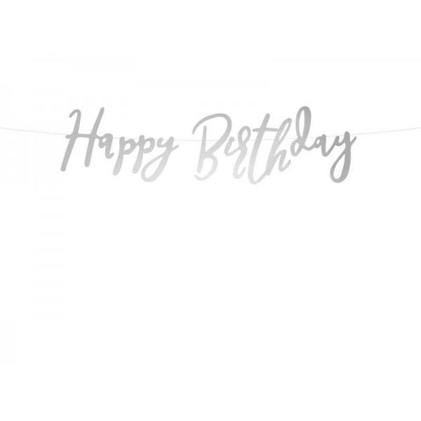 Baner Happy Birthday srebrny 62cm
