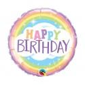 Balon foliowy Happy Birthday z tęczą 46cm