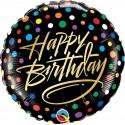 Balon foliowy Happy Birthday czarny 46cm