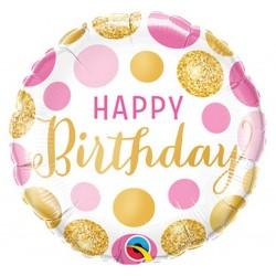 Balon foliowy Happy Birthday złote,różowe grochy 46cm