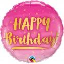 Balon foliowy Happy Birthday różowy 46cm