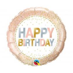 Balon foliowy Happy Birthday rose gold 46cm