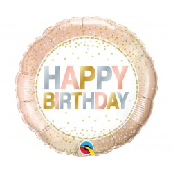 Balon foliowy Happy Birthday różowe złoto 46cm