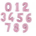 Balony Cyfry 0-9 Jasnoróżowe 102cm