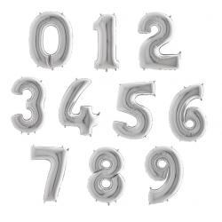 Balony Cyfry  0-9 Srebrne 102 cm