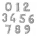 Balony Cyfry  0-9 Srebrne 102cm
