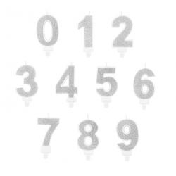 Świeczki Cyfry Srebrne 0-9