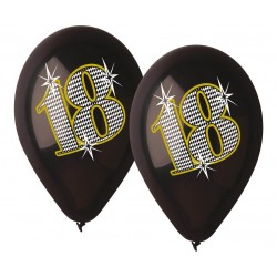 Balony 18 urodziny czarne 30cm 5szt