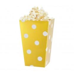Pudełka na popcorn/słodycze złote w białe groszki 4szt
