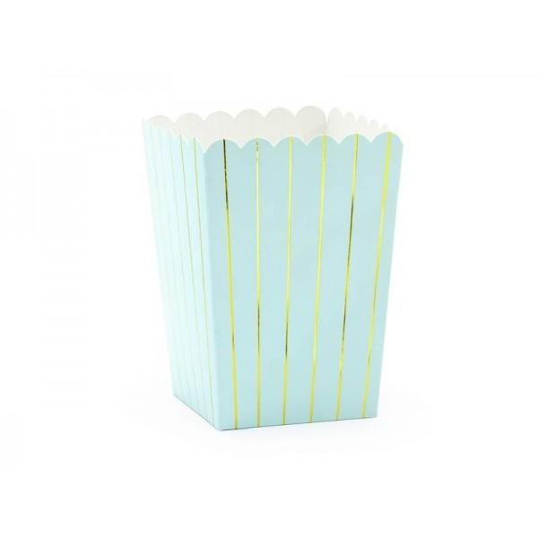 Pudełka na popcorn/słodycze jasnoniebieskie 6szt