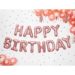 Balony foliowe HAPPY BIRTHDAY różowe złoto 35x340 cm