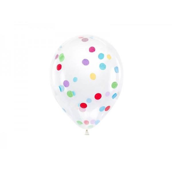 Balony transparentne z kolorowym konfetti 30cm 6szt