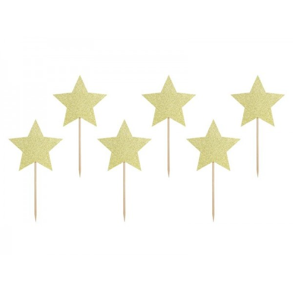Piki gwiazdki złote brokatowe 6szt