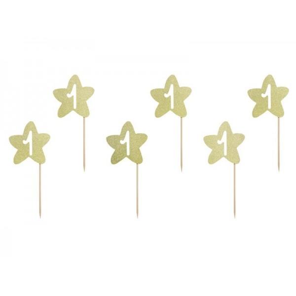 Piki Gwiazdki złote brokatowe na Roczek 6szt