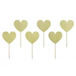 Piki Serca złote brokatowe 6szt