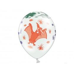 Balony pastelowe białe Dinozaury Dino Party 14cali 35cm 6szt Strong